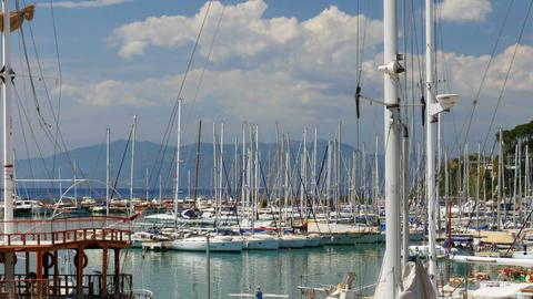 KUSADASI, TURKEY - MAY 2015: yatch marina, boat ship pier Footage