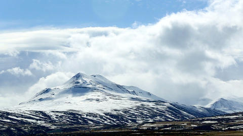 Impressive volcano winter mountain landscape in Iceland Live Action