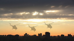 Group Of Animated Helicopters On The Background Of The Urban Landscape stock footage