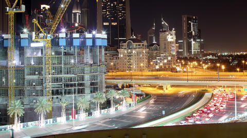 night dubai construction 4k time lapse near dubai mall Footage