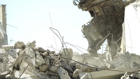 Building Demolition Hydraulic Claw Closeup 영상물
