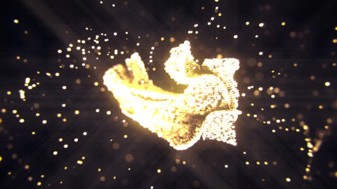 Abstract flying flickering particles turn into a hand sign. Animation of Animation