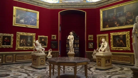 Panning shot of statues and art works in Uffizzi of Florence Italy Footage
