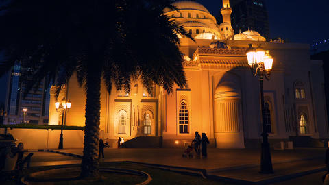 Sharjah, UAE - May 10, 2018: night view on Al Noor Mosque with bright GIF