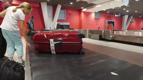 Baggage claim in airport close up view Footage