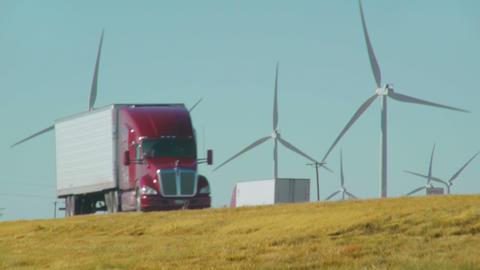 Semi Truck Passes Wind Farm Footage