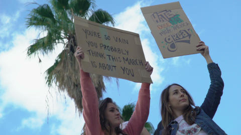 Women's March Signs Footage