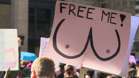Protest Sign with Naked BOOBS Footage