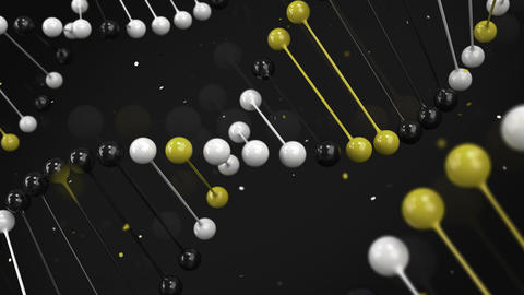 Gloss model of black, white and yellow DNA strand on black background Animación