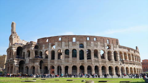 4k Timelapse of Rome Colosseum with people during a sunny day Footage