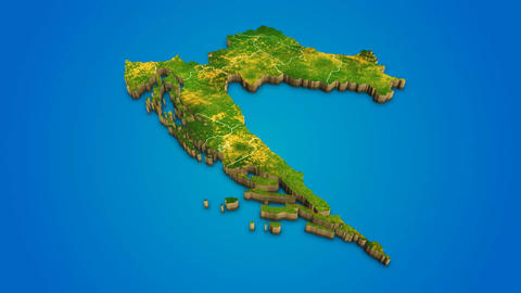 Croatia country map satellite camera zoom in sky effect shot visualization After Effects Template