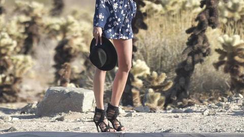 girl with long legs walking in the desert 영상물