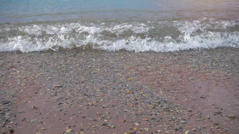 Water waves on the beach, slow motion Footage