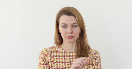 Confident woman poiting finger to camera want you Footage