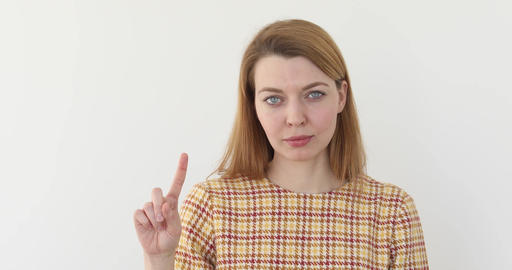 Woman waving finger to reject Footage