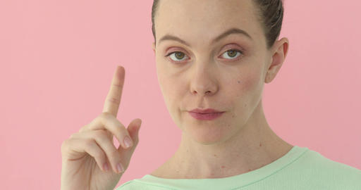 Woman shaking head and waving finger to reject Footage
