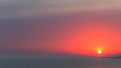 Timelapse of beautiful sunset over sea landscape. No flicker, no birds Footage
