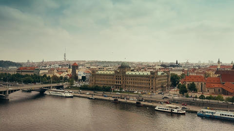 PRAGUE, CZECH REPUBLIC - MAY 3, 2018. Aerial view of the city from the Vltava Footage