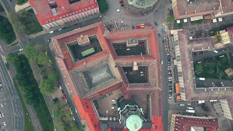 Aerial top down view of historic buildings in Dresden centre, Germany Live Action