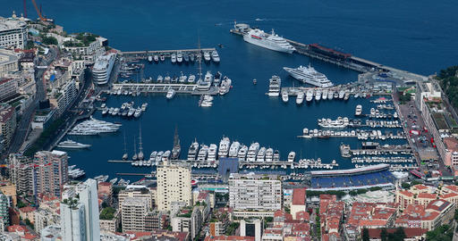 Beautiful Panoramic Aerial view of Port Hercule And Monte-Carlo in The ビデオ