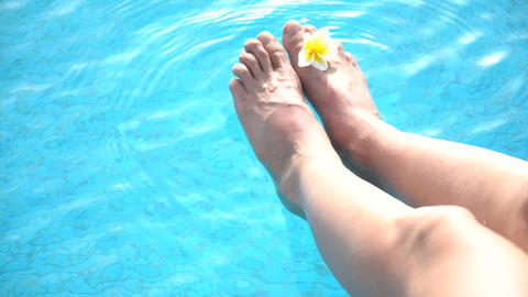 Female feet with a plumeria flower in the swimming pool blue water Footage