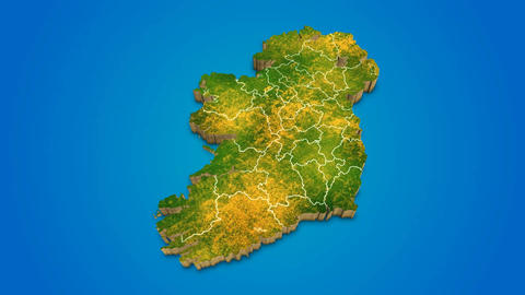 Ireland country map satellite camera zoom in sky effect shot visualization After Effects Template