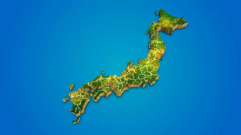 Japan country map satellite camera zoom in sky effect shot visualization After Effects Template