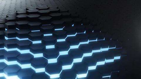 VJ loop hexagon glow digital background Animation