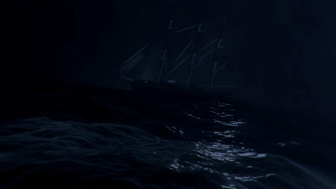 Sailboat In A Middle Of A Big Storm At Sea GIF