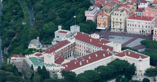 Beautiful Aerial View of the Princes Palace of Monaco Live Action