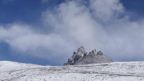 Bizarre Rocks Snow Clouds Mountains Peak 4k Footage