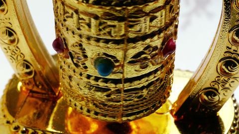 Buddhist Golden Prayer Wheel Meditation 4k Footage