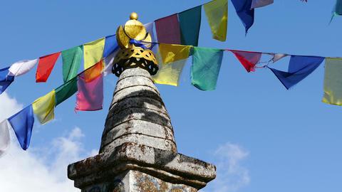 Buddhist Stupa Multicolored Flags 4k Footage
