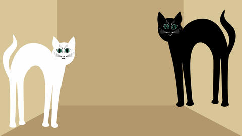 Cats in love. White cat and black tomcat approaching each other, red heart GIF