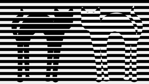 Two cats in monochrome animation. Stripped black and white background with cat GIF