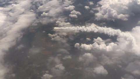 Ballistic Missile flying above the clouds CG動画素材