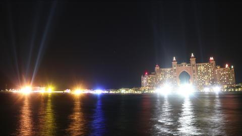 time lapse with light atlantis hotel in dubai city Footage