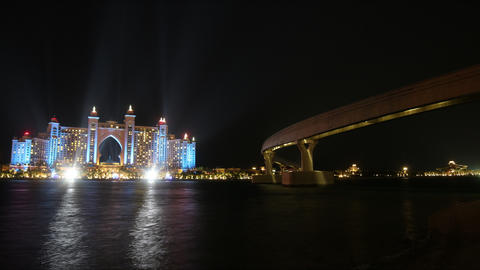 time lapse with high light atlantis hotel in dubai city Footage
