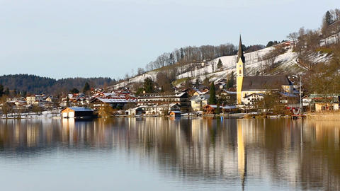 Bavarian lake Schliersee with blue sky in winter Footage