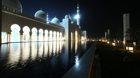 night light mosque 4k time lapse from abu dhabi uae Footage