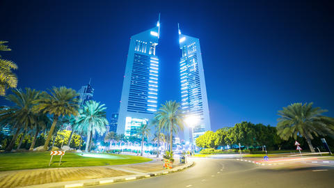 emirates towers 4k time lapse from dubai city Footage