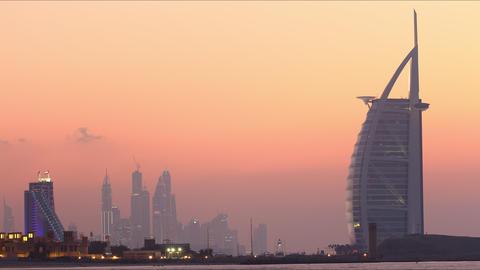 popular hotels sunset view 4k time lapse dubai uae Footage