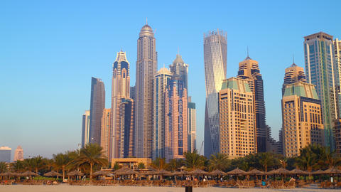dubai marina time lapse from the beach Footage