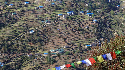 Houses Prayer Buddhisr Multicolored Flags Agriculture Terraces Nepal 4K Footage
