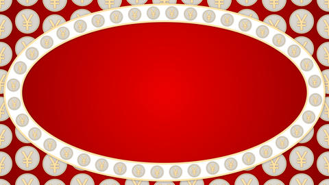 027 Chinese yuan coins china money red background ellipse frame Animation