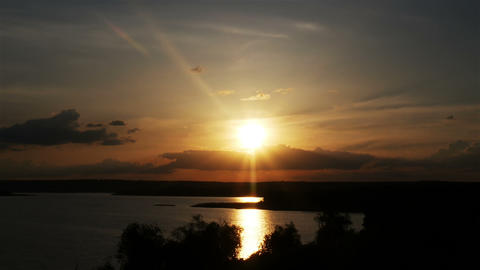 Sunset over the river GIF