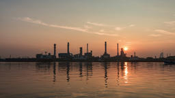 Oil Refinery Station Sunrise time Footage