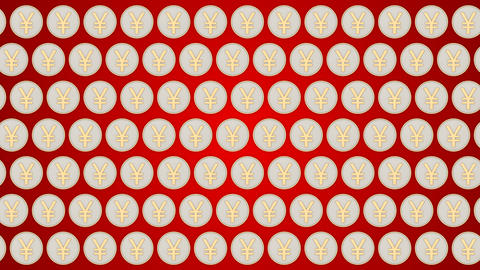 031 Chinese yuan coins china money red background coins traffic horisontal CG動画素材