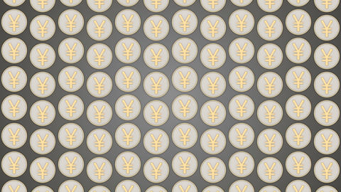032 Chinese yuan coins china money grey background coins traffic vertical Animation