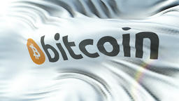 BITCOIN flag waving on sun. Seamless loop with highly detailed fabric texture Animation